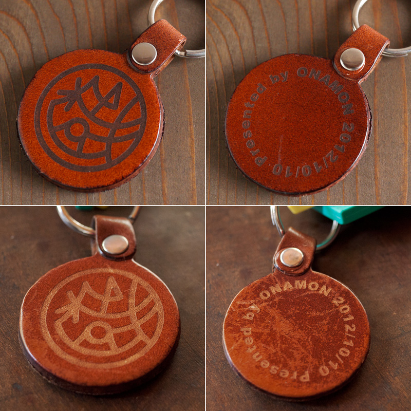 laser engraved leather key fob・本革キーホルダー使用前後