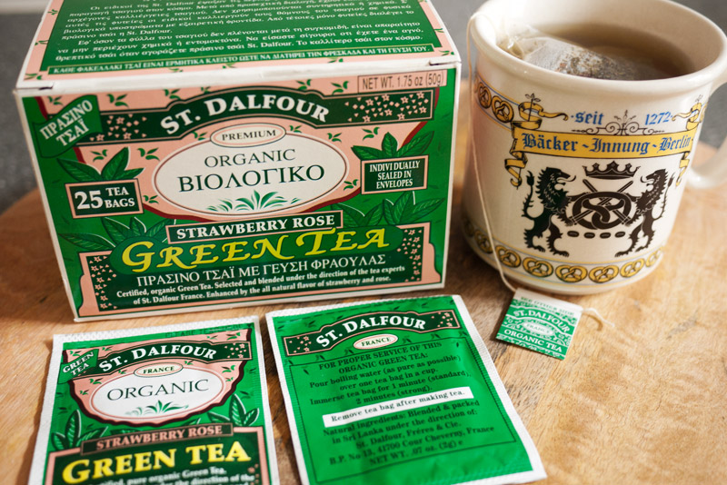 ST. DALFOUR Organic Green Tea, Strawberry Rose flavor