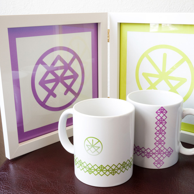double frame & mugs・銀婚式ギフト一式:ダブルフレーム(Silhouette CAMEO)&マグカップ