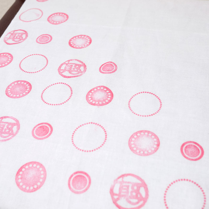 Tenugui with eraser stamps・消しゴムハンコ手ぬぐい