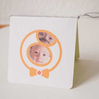 Gift Card Design with his and his father's face in his own logo (front)・写真付きギフトカード(表)