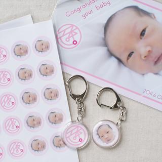 ご誕生後ギフト:シール・両面キーホルダー・カード